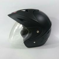 Helm motor SNI KNC jp8 black doff 2 kaca double visor