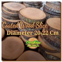 Natural wood slice diameter 20-22 cm potongan talenan kayu dekorasi