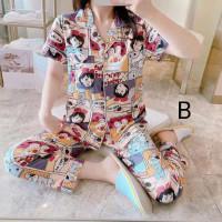 Baju Tidur Wanita Piyama Panjang Katun Wanita 17 Murah Sleepwear Set
