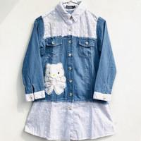 Baju Kemeja Tunik Semi Jeans Hello Kitty 9-10 Tahun