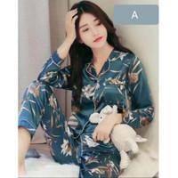 Baju Tidur Wanita 168 Premium Satin Piyama Panjang Cewe Muslimah Motif