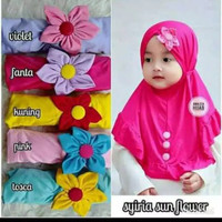 Jilbab bayi bunga matahari/kerudung anak bunga matahari hijab instan - Merah Muda