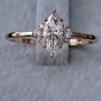 cincin berlian marquise cut natural diamond emas 18k original