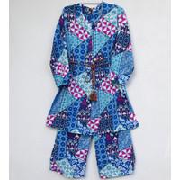 Setelan Baju Anak Muslim Anak Perempuan Bahan Katun Dingin 7-9 Tahun