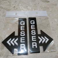 "Laser cut acrylic sign/tanda ""GESER"" 01 - hitam kanan, 11.5cm x 7.5cm"