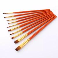 Kuas Lukis Cat Air Akrilik Set Oil Paint Brush 10 pcs