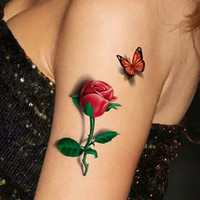 HN - 3D Temporary Tattoo Body Art Motif Mawar / Rose