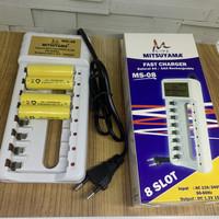 Alat Cas Baterai AA AAA 1.2V Mitsuyama MS-08 8Slot Free Baterai 4pcs