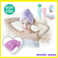 magic dry hair cap Towel Microfiber - Biru Pink - Merah Muda