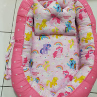 Kasur bayi nest baby motif awan|kasur bayi|keranjang tempat tidur bayi