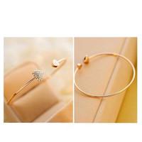 gelang besi simple permata bentuk hati fashion kekinian (love bangles)