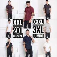 Kemeja Lengan Pendek Pria Polos Big Size XXXL TripleXL 3XL Jumbo - Hitam, XXXL