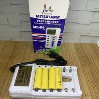 Alat Charger Baterai AA AAA 1.2V Mitsuyama MS-06 Free Baterai 4pcs