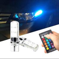 accesories mobil 2pc lampu senja LED RGB T10 16 warna mobil motor