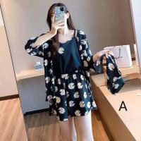 Baju Tidur Wanita 105 Set Katun Celana Pendek Piyama Girl Pajamas Cewe