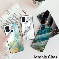 Marble Glass Case Samsung Galaxy M31 SamsungM31 Back Cover Casing HP
