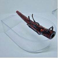 pipa rokok ukir naga merah lubang multifungsi panjang 14cm