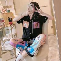 Piyama Wanita Set Vena Baju Tidur Cewek Katun Girl Sleepwear Panjang