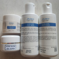 Primanesse paket acne glow gel super isi 4 - bekas jerawat + glowing