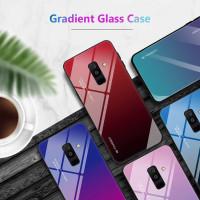 Gradient Glass Case Samsung Galaxy A6+ A6 Plus J8 2018 Casing HP