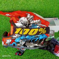 helm cross jpx x14 red+goggle 100% original murah