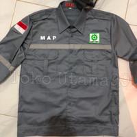 Seragam safety plus bordir belakang plus logo safety first