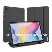 Samsung Tab S6 Lite Smartcase FULLSET+ Glass Clear Original-Hitam