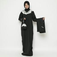 Mukena Abaya Parasut Renda Premium Hitam