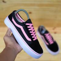 sepatu wanita vans hitam lis pink ukuran 36 37 38 39 40