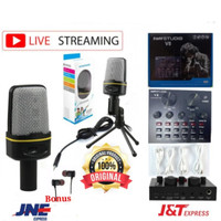 Paket Mic Condenser Microphone Recording Tripod Stand Soundcard V8