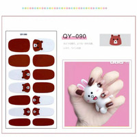HN - Stiker Kuku Motif Brown & Cery / Nail Art Sticker
