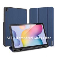 Samsung Tab S6 Lite Smartcase FULLSET+ Glass Clear Original-Biru