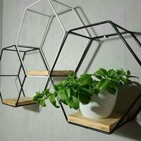 Rak Bunga Hexagon mini Tempel di dinding