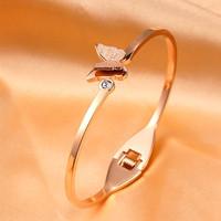 GELANG TITANIUM STEEL KUPU-KUPU BUTTERFLY DIAMOND BERLIAN ROSE GOLD
