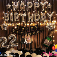 Set paket dekorasi ulang tahun hbd balon fancy romantis black LED