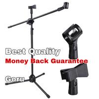 Stand tripod microphone holder mic mik kaki lantai vlog hp berdiri ori