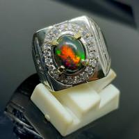 Cincin Batu Permata Kalimaya Hitam//Black Opal High Quality