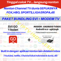 IPTV PAKET SVI 1BULAN + MODEM TVBOX ANDROID 10 4/32gb PREMIUM CHANNEL