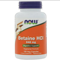 now food foods betaine hcl 648mg 648 mg digestive support 120 caps
