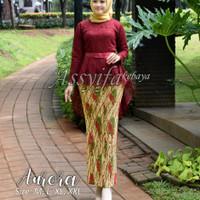 set kebaya Aurora/kebaya modern/kebaya wedding/aaff - Maroon, M