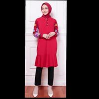 Blouse Tunic Muslim Busui Jersey Polos Kancing Depan Kombinasi Motif