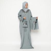 Mukena Abaya Parasut Premium Pita Besar Abu Muda