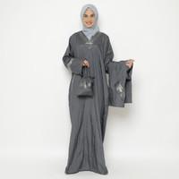 Mukena Abaya Parasut Premium Pita Besar Abu Tua