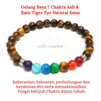 Gelang Premium 7 Cakra Asli & batu Tiger eye 6mm