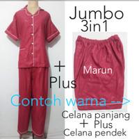 Baju tidur wanita jumbo 3in1