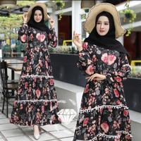 Dress Muslim Baju Gamis Muslim Wanita bahan katun jepang renda size L