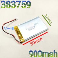 383759 Li ion 3.7v 900mAh Protection Baterai Charge Mp3 Mp4 GPS Hp