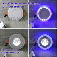 Lampu Downlight LED Panel 2 Warna 3W + 3 Watt Plafon Inbow Bulat