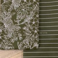 kain katun jepang motif batik hijau dan salur cantik