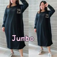 Long Dress Terusan Wanita Jumbo big size oversize Lengan Panjang XXL